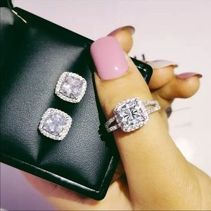 925 engagement ring + earring